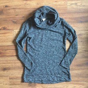 Merona cowl neck sweater grey/black size S